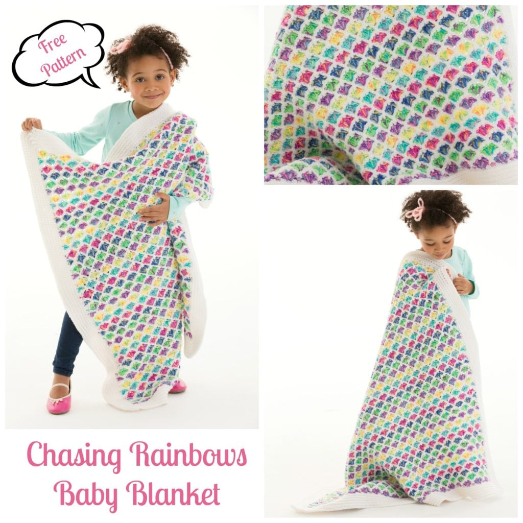 LW5174 Chasing Rainbows Baby Blanket by Marly Bird. Free Pattern